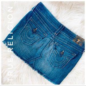 TRUE RELIGION denim jean mini skirt